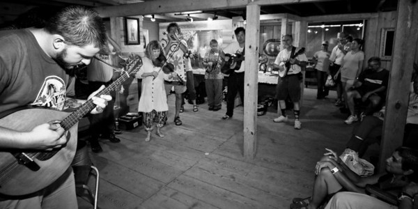 A jam session going on in the Hugh Mangum Photo Museum at the 2008 Festival for the Eno. -2211