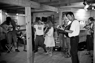 A jam session going on in the Hugh Mangum Photo Museum at the 2008 Festival for the Eno. -2202