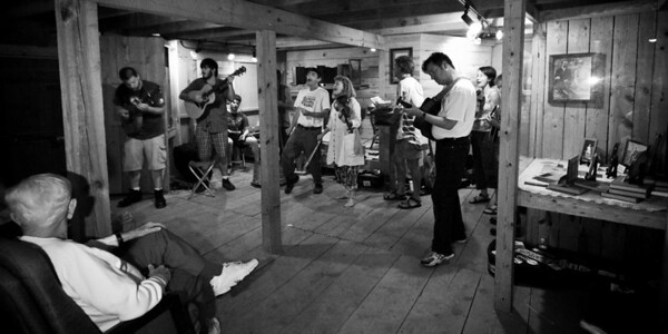 A jam session going on in the Hugh Mangum Photo Museum at the 2008 Festival for the Eno. -2203