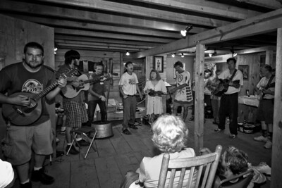 A jam session going on in the Hugh Mangum Photo Museum at the 2008 Festival for the Eno. -2209