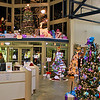 Many Christmas trees at the welcome center