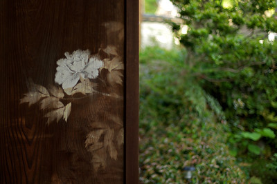 Traditional Japanese door with view in the garden.
