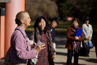 Sightseeing with Kamogawa-kai Group Members, Judith Clancy explaining Kamigamo Shrine