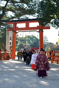 Wedding Ceremony at Kamigamo jinja Shrine in Kyoto with Priest  World Cultural Heritage Site in Autumn