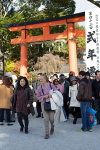 Sightseeing at Kamigamo jinja Shrine in Kyoto   World Cultural Heritage Site in Autumn passing Red Entrance Gate
