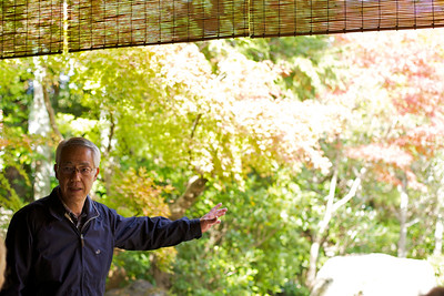 At Nishimura Villa South of Kamogamo Jinja Shrine (Kamigamo Shake Machi)  Guide explaining Traditional Garden with Autumn Foliage