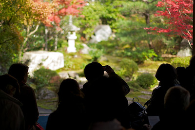 Garden of Nishimura Villa, South of Kamigamo Jinja Shrine, with Autunm Foliage  Shrine Priest´s House, Group of Tourists gazing at Garden