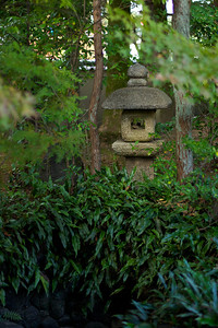 Stone Lantern in Green Foliage at Nishimura Villa (Shinto Priest Home)  Situated South of Kamigamo Jinja Shrine, Kyoto, World Cultural Heritage