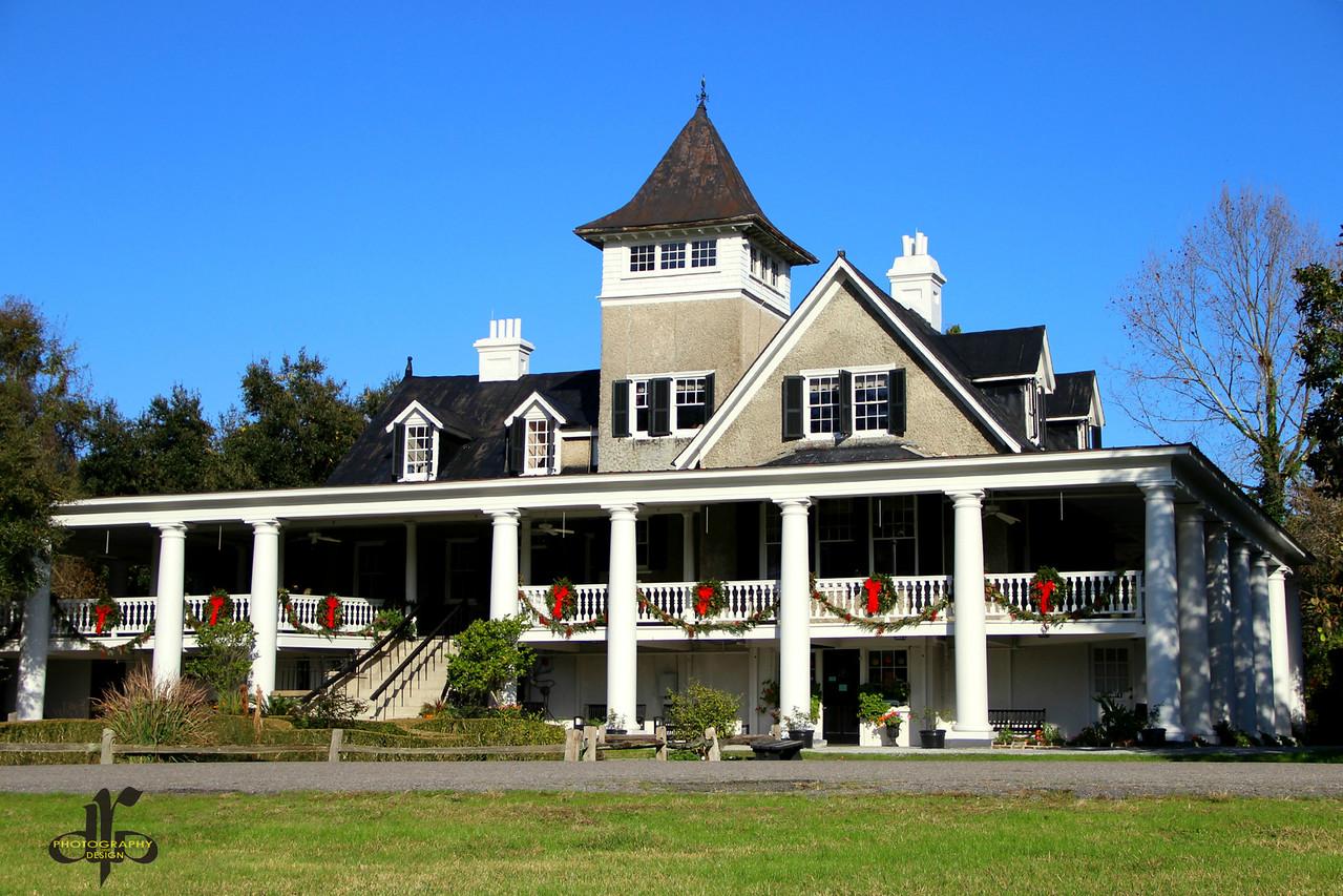 Magnolia Plantation House Decorated for Christmas