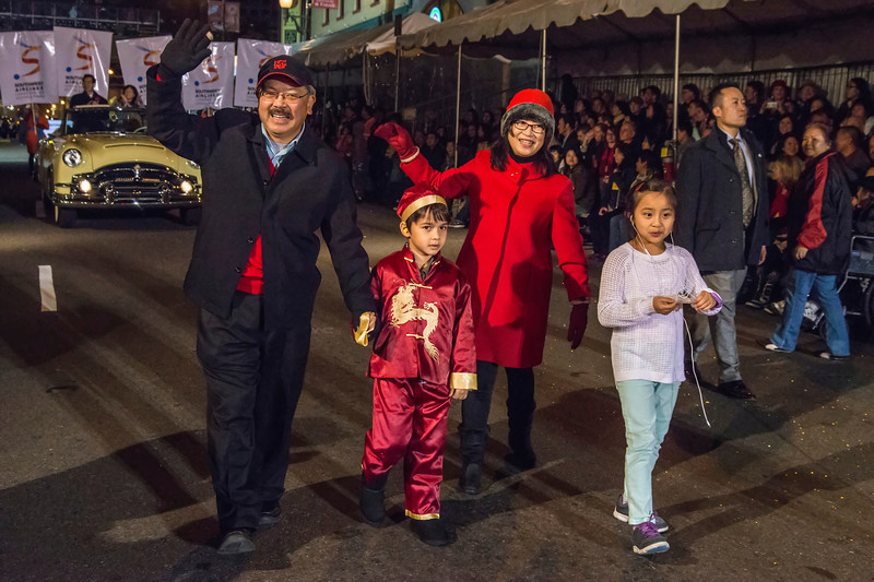 Mayor Ed Lee and Family, San Francisco's 2014 Chinese New Years Parade (Year of the Horse)