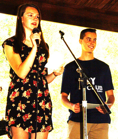 Debbie Blank | The Herald-Tribune<br /> Batesville High School Key Club Lt. Gov. Kiley Cline (left) and President Dylan Flannery served as masters of ceremonies for the royalty pageant.