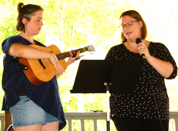 "Afternoon entertainment Saturday was provided by Keys for Success music therapy students. On ""Cowboy, Take me Away,"" Erin Burns, Batesville, plays guitar while music therapist Erin Schmidt sings."