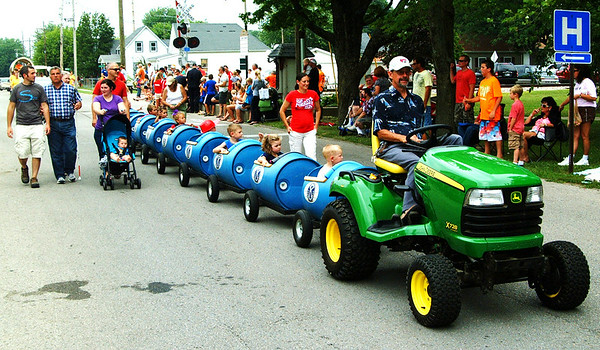Christopher Aune | The Herald-Tribune<br /> Batesville Kiwanians contribute to the fest by offering train rides each summer. The train was at the parade, too.