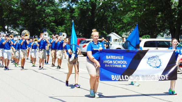Debbie Blank | The Herald-Tribune<br /> A banner introduces the Batesville High School Band to the crowd.