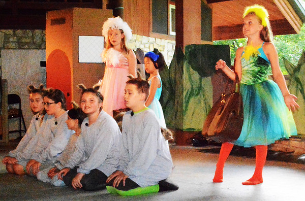 "Debbie Blank | The Herald-Tribune<br /> Mice were among many characters in ""The Adventures of Frog and Toad"" June 21 in the Liberty Park Pavilion."