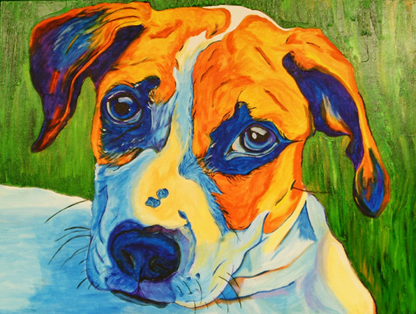 "Debbie Blank | The Herald-Tribune<br /> Emili Uden earned the People's Choice Award for her acrylic on canvas ""Clyde."""