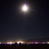 blue moon over black rock city from deep playa