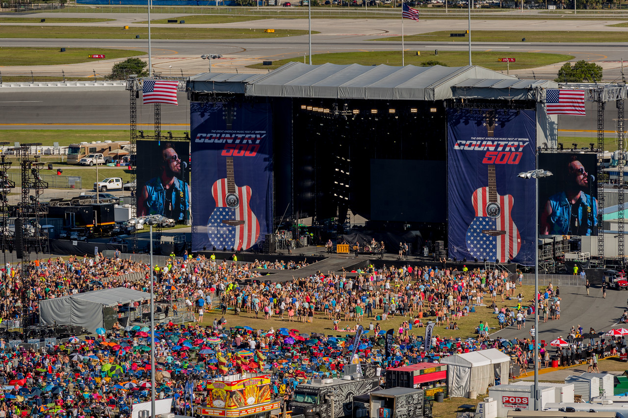 performs durnig the Country 500 at Daytona International Speedway in Daytona Florida