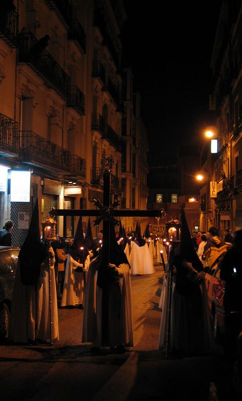 Part of the Semana Santa celebrations, a small procession through some of the streets of Madrid. And it was as eerie as it looks.