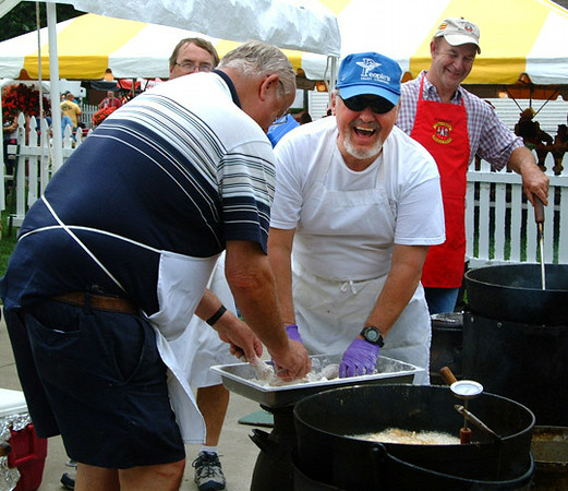 Debbie Blank | The Herald-Tribune<br /> Long-time chicken fryers, many belonging to the Batesville High School Class of 1968, include (from left) organizer Kenny Pfeiffer, Bob Obermeyer, Larry Enzinger and Tom Gehring.
