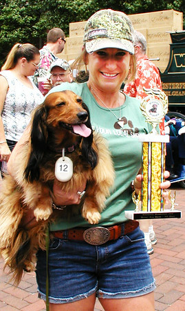Debbie Blank | The Herald-Tribune<br /> Long-haired dachshund Livie, 5, owned by Erika Johnson, Batesville, brought home the third-place trophy.