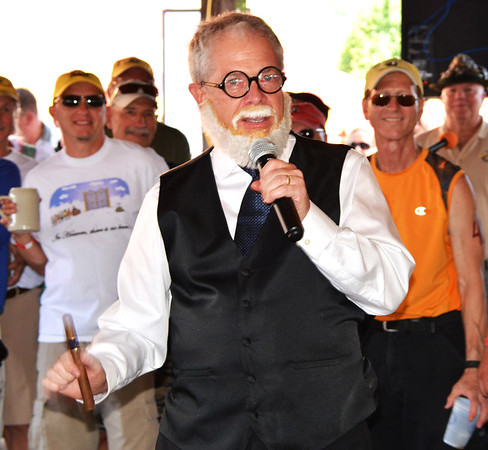Debbie Blank | The Herald-Tribune<br /> Bill Blank kidded around at the opening ceremony, putting the Freud (as in Dr. Sigmund Freud, the Austrian founder of psychoanalysis) in Freudenfest.
