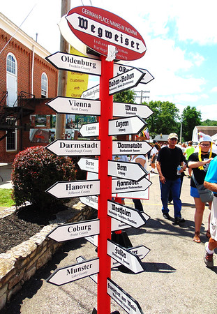 Debbie Blank | The Herald-Tribune<br /> This display shows the influence of German immigrants on place names across Indiana.