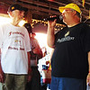 Debbie Blank | The Herald-Tribune<br /> Every summer the Freudenfest Steering Committee honors a local by allowing them to tap the first keg of beer. This time the honoree was Ed Hoelker (left), 93, Oldenburg, who has a fest beer garden named after the family, chairman Gary Munchel explained.