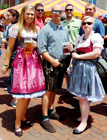 Debbie Blank | The Herald-Tribune<br /> Stephanie King (from), Columbus, Indiana; and Beau and Cassandra Schofield, Cincinnati, have that Bavarian feeling Saturday.