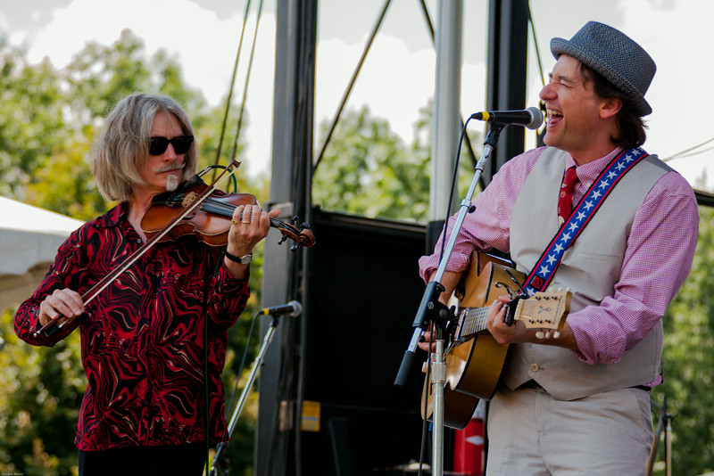 (L-R) Fats Kaplin and Paul Burch of Paul Burch & the WPA Ballclub perform at the Green River Festival 2014 at Greenfield Community College in Greenfield MA.