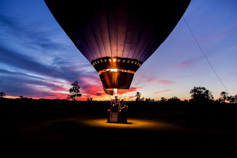 Balloon glow at sunset