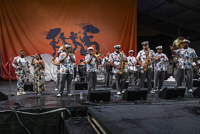 Kinfolk Brass Band performs during day one of the New Orleans Jazz & Heritage Festival 2019 at Fairgrounds Race Cource, New Orleans LA on April 25th, 2019.