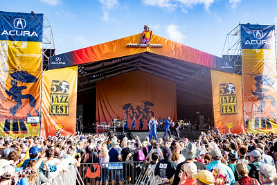 Earth, Wind & Fire performs during day one of the New Orleans Jazz & Heritage Festival 2019 at Fairgrounds Race Cource, New Orleans LA on April 25th, 2019.