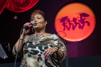 """Jolynda """"Kiki"""" Chapman & Friends performs during day one of the New Orleans Jazz & Heritage Festival 2019 at Fairgrounds Race Cource, New Orleans LA on April 25th, 2019."""