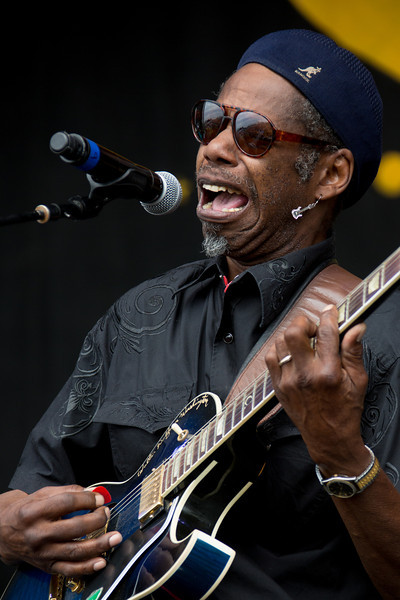 "Walter ""Wolfman"" Washington & the Roadmasters perform during the New Orleans Jazz & Heritage Festival 2014 at the Fairgrounds Race Track, New Orleans Louisiana."