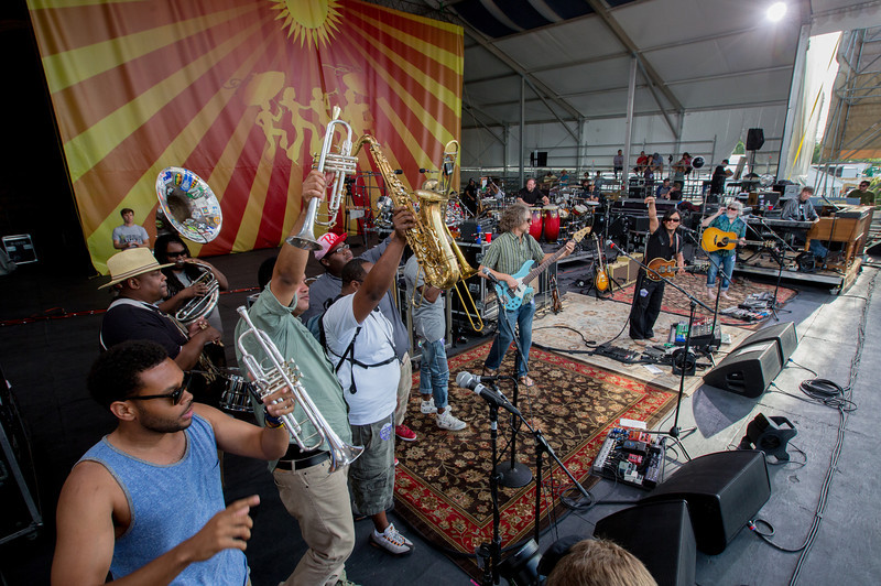 The Soul Rebels Brass Band performs with String Cheese Incident during the New Orleans Jazz & Heritage Festival 2014 at the Fairgrounds Race Track, New Orleans Louisiana.