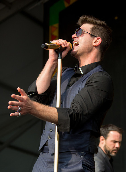 Robin Thicke performs during the New Orleans Jazz & Heritage Festival 2014 at the Fairgrounds Race Track, New Orleans Louisiana.