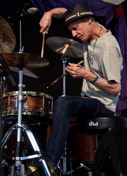 Johnny Vidocovich of Astral Project performs during the New Orleans Jazz & Heritage Festival 2014 at the Fairgrounds Race Track, New Orleans Louisiana.