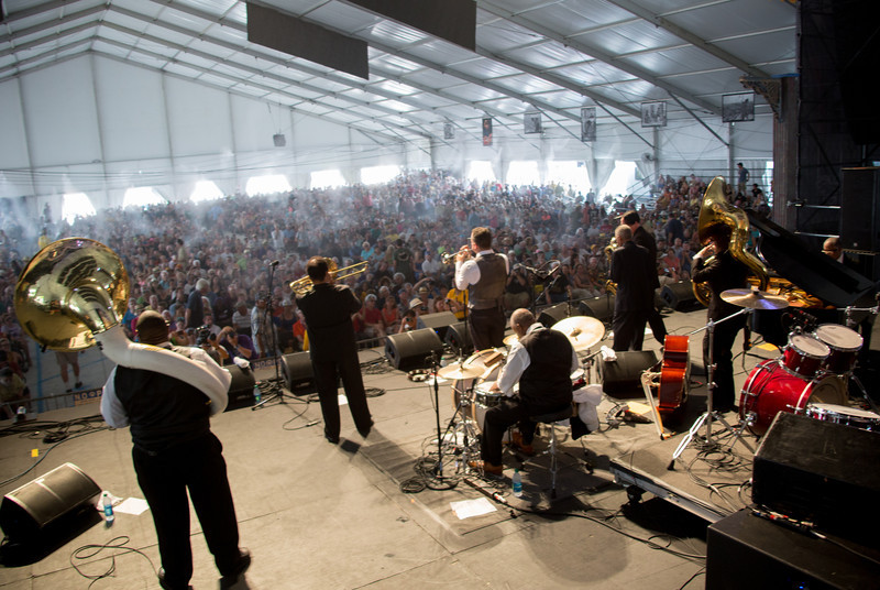 The Preservation Hall Jazz Band performs during the New Orleans Jazz & Heritage Festival 2014 at the Fairgrounds Race Track, New Orleans Louisiana.