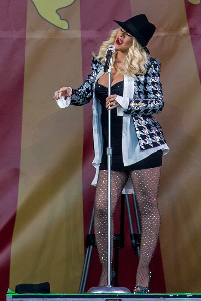 Christina Aguilera performs during the New Orleans Jazz & Heritage Festival 2014 at the Fairgrounds Race Track, New Orleans Louisiana.