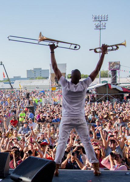 "Troy ""Trombone Shorty"" Andrews performs during the New Orleans Jazz & Heritage Festival 2014 at the Fairgrounds Race Track, New Orleans Louisiana."