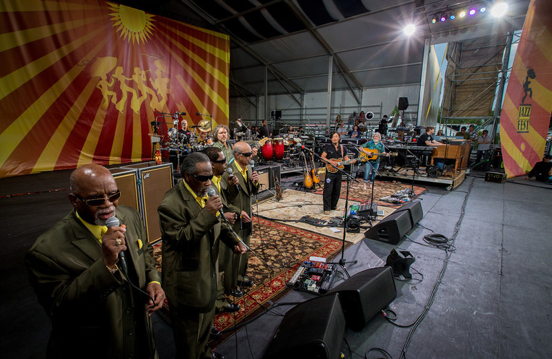 The Blind Boys of Alabama sit in with String Cheese Incident during their performance at the New Orleans Jazz & Heritage Festival 2014 at the Fairgrounds Race Track, New Orleans Louisiana.