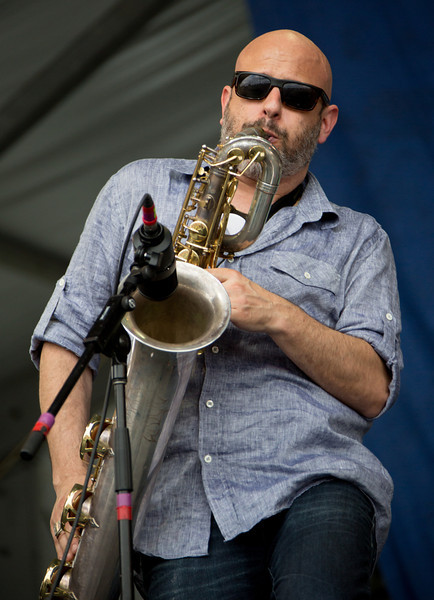 Ben Ellman of Galactic performs during the New Orleans Jazz & Heritage Festival 2014 at the Fairgrounds Race Track, New Orleans Louisiana.