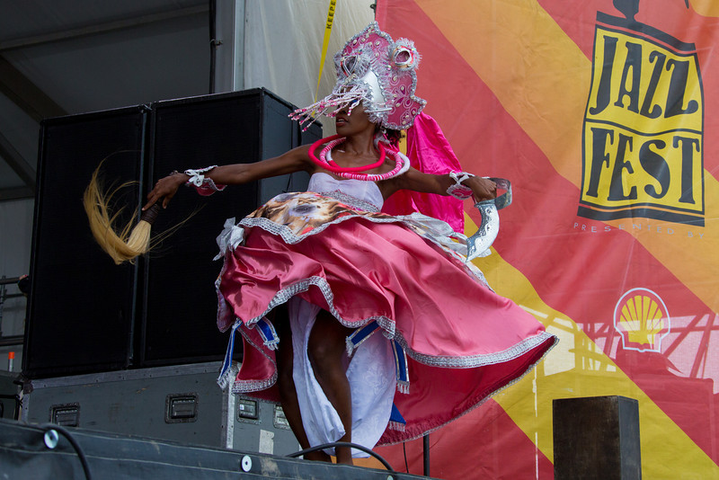 Afoxé Omô Nilê Ogunjá of Pernambuco-Brazil performs during the New Orleans Jazz & Heritage Festival 2014 at the Fairgrounds Race Track, New Orleans Louisiana.
