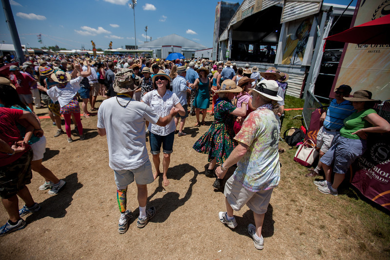 Dancing at Fais Do Do during the New Orleans Jazz & Heritage Festival 2014 at the Fairgrounds Race Track, New Orleans Louisiana.