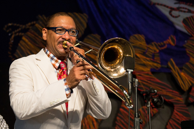 Delfeayo Marsalis and the Uptown Jazz Orchestra performs during the New Orleans Jazz & Heritage Festival 2014 at the Fairgrounds Race Track, New Orleans Louisiana.