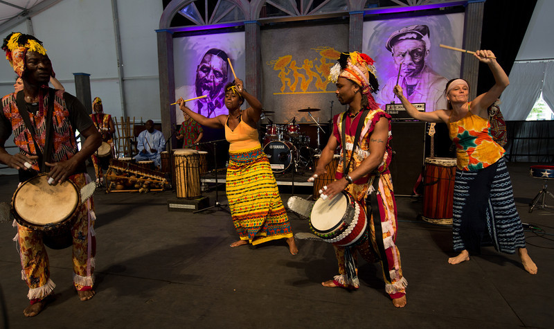Ivoire Spectacle featuring Seguenon Kone performs during the New Orleans Jazz & Heritage Festival 2014 at the Fairgrounds Race Track, New Orleans Louisiana.