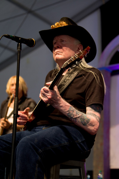 Johnny Winter performs during the New Orleans Jazz & Heritage Festival 2014 at the Fairgrounds Race Track, New Orleans Louisiana.