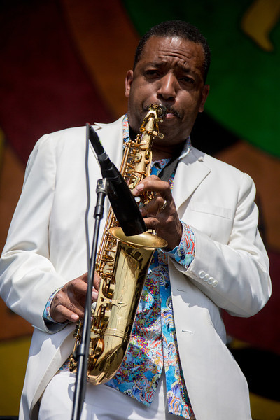 Donnald Harrison performs during the New Orleans Jazz & Heritage Festival 2014 at the Fairgrounds Race Track, New Orleans Louisiana.
