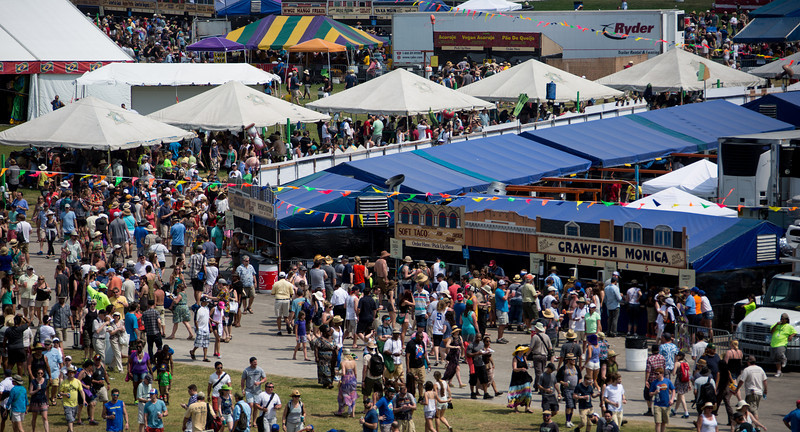 Food booths at the New Orleans Jazz & Heritage Festival 2014 at the Fairgrounds Race Track, New Orleans Louisiana.